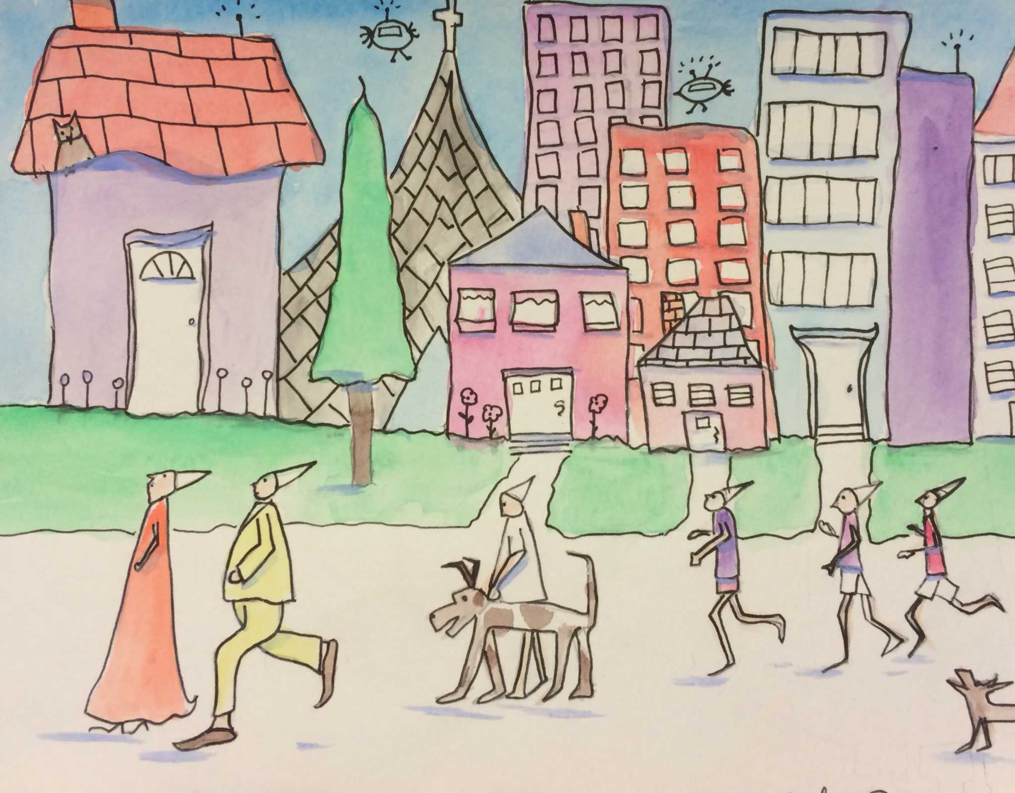 """Big Town, watercolor and ink, 6"""" x 8"""", copyright ECR 2014"""
