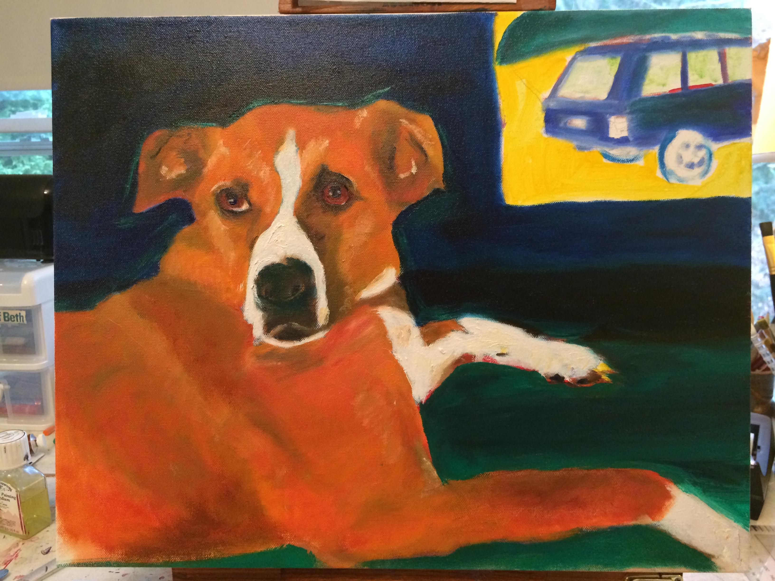 Hmmm, a dog and a car?