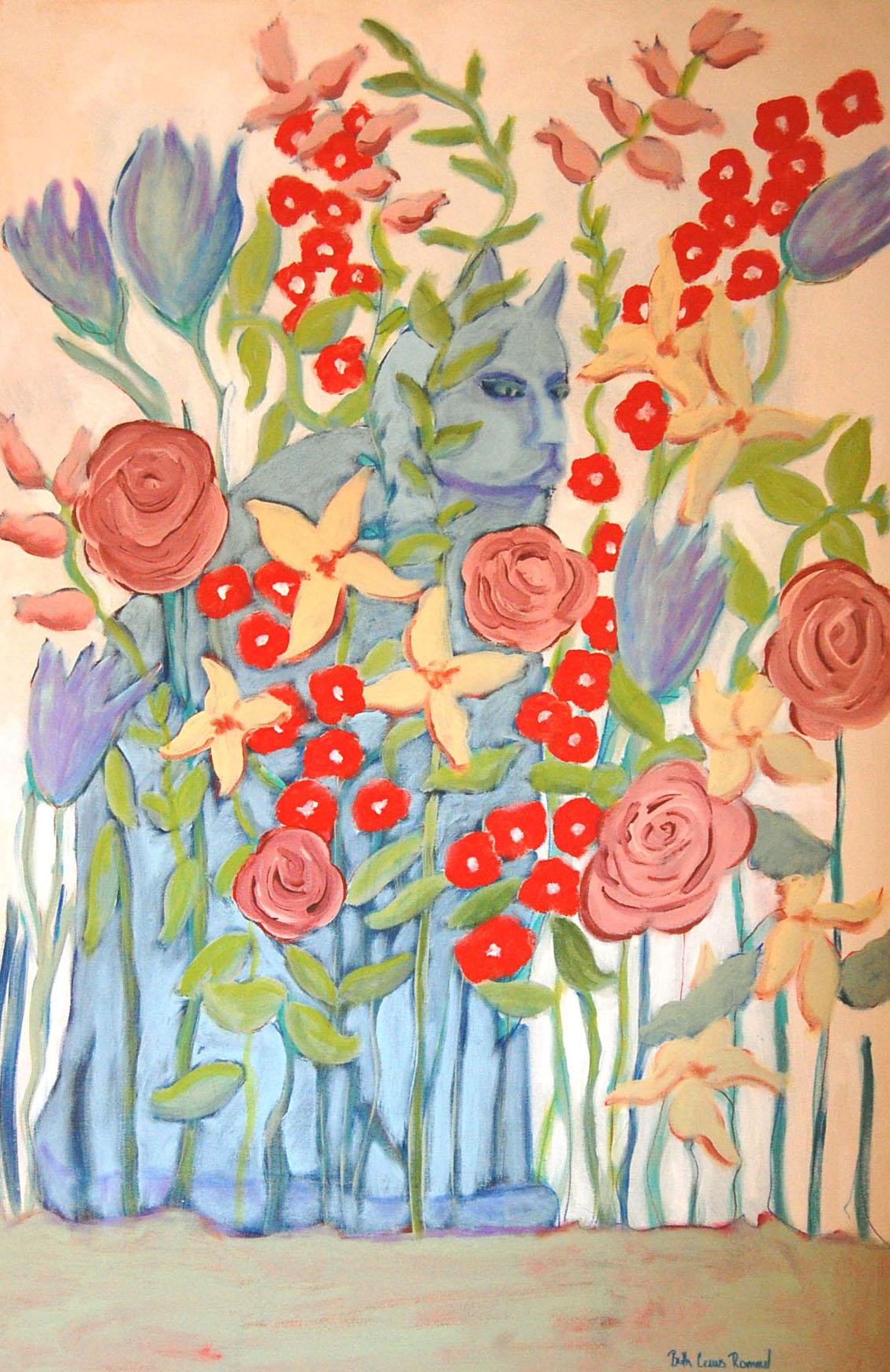 cat, flowers. still life, folk art, painting, art