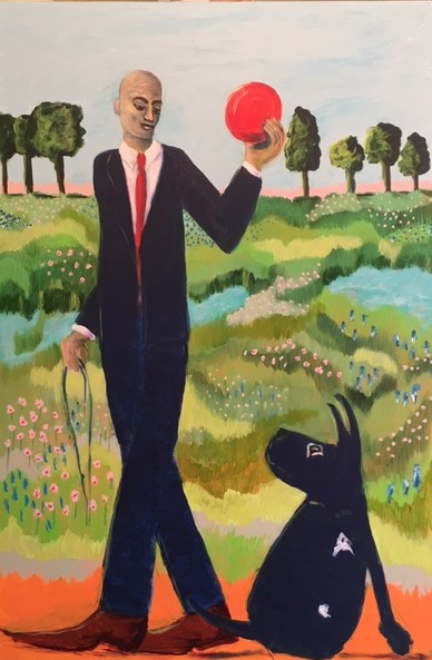 "Acrylic on Canvas - Ming Dogg's Frisbee - $650. 36"" x 24"""