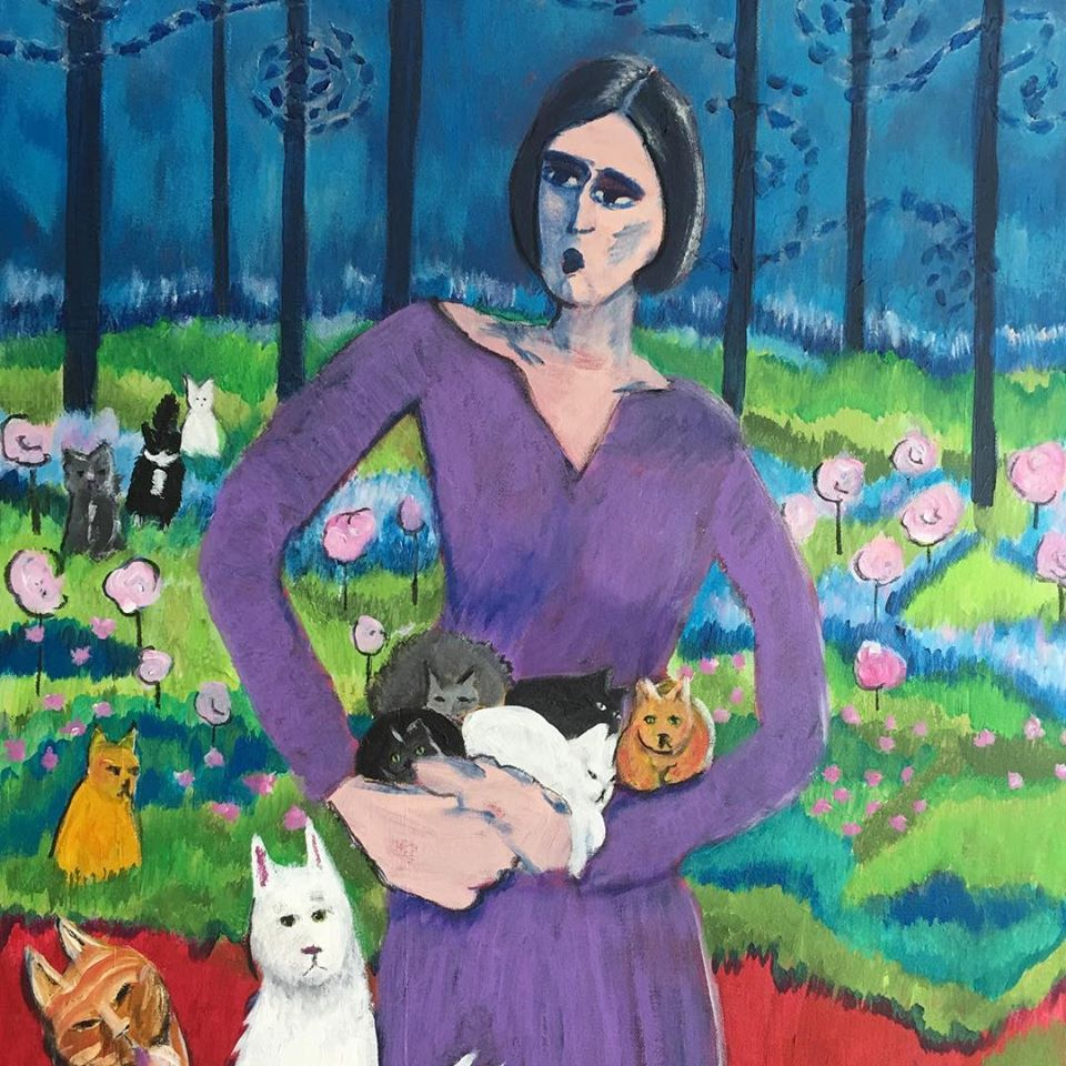 "Acrylic on Canvas - She Knew The Minute She Became A Cat Lady - 28"" x 22"" $750."