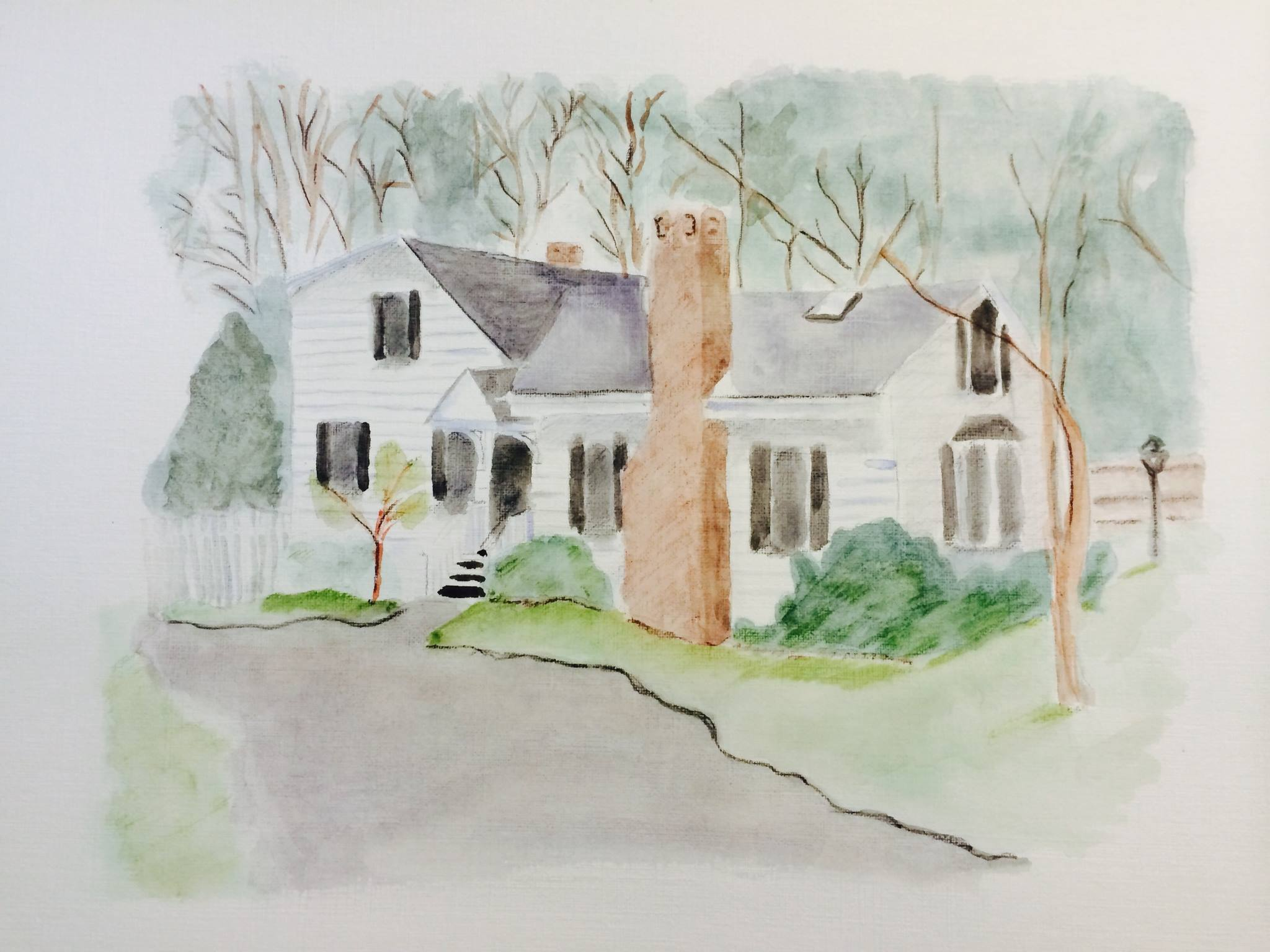 Maine Home Watercolor