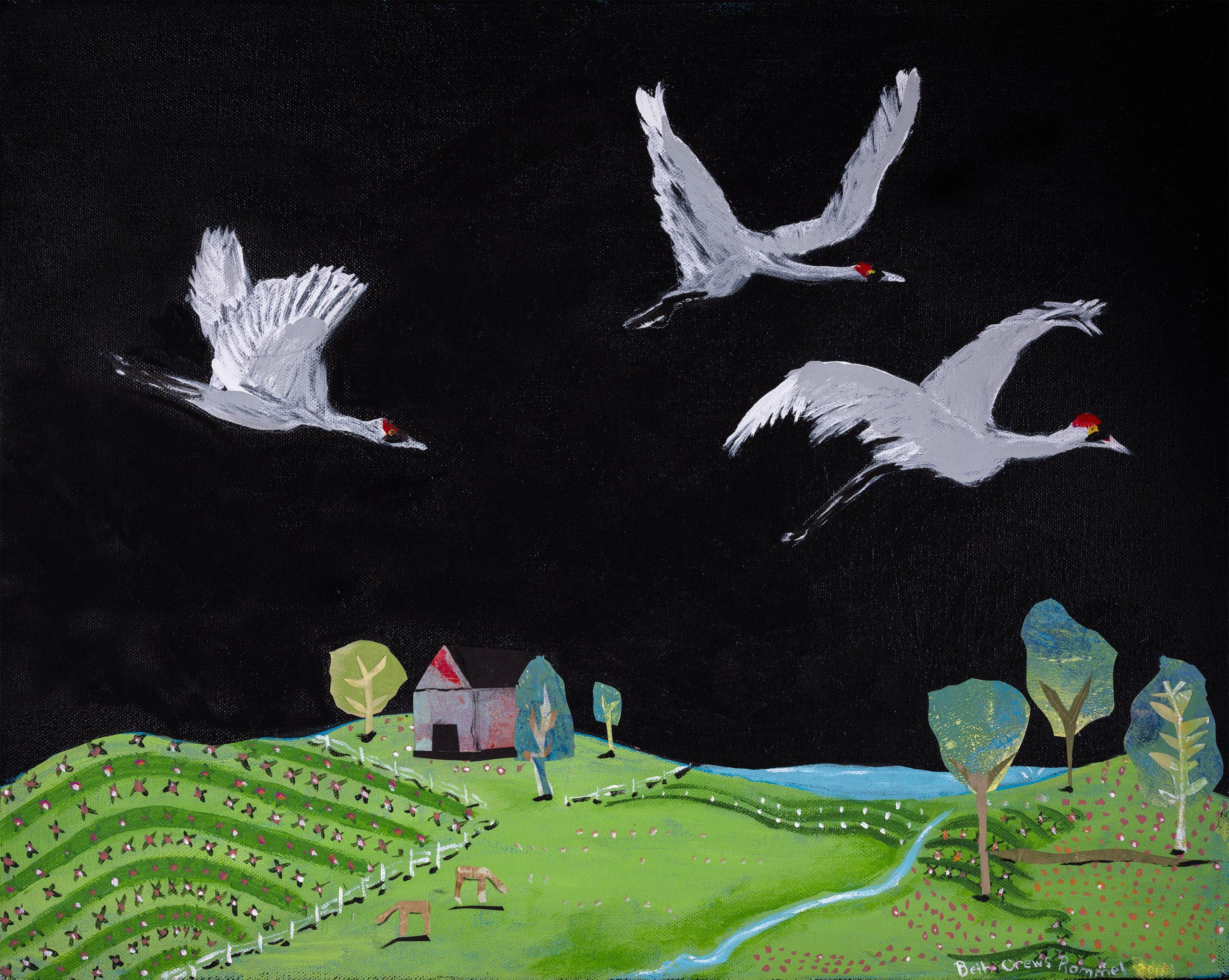 Acrylic on Canvas - Crane Flyover - $375