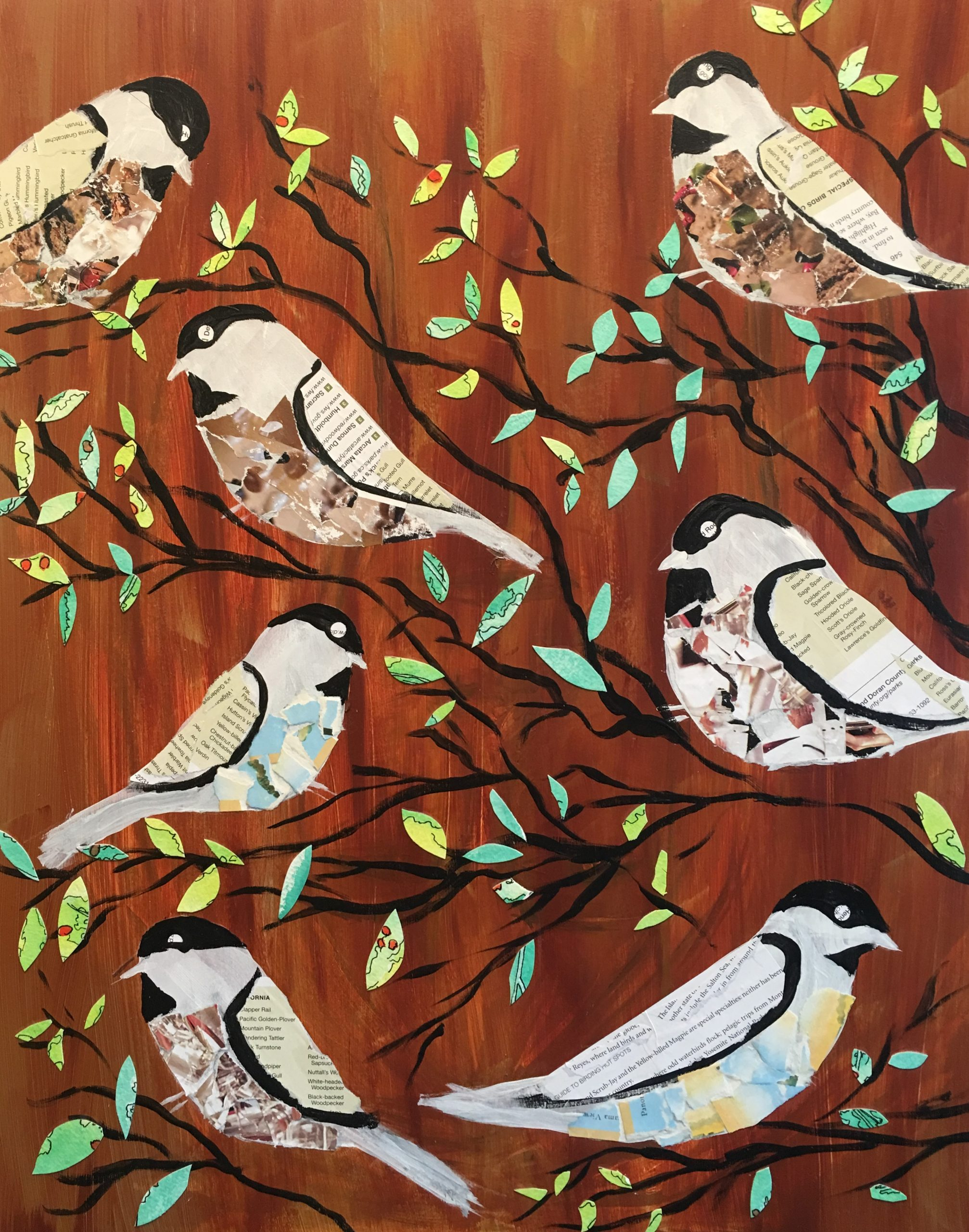 Chickadee collage for sale