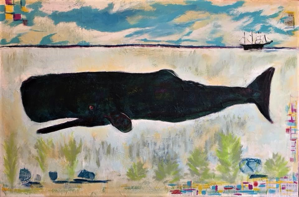 Acrylic and Collage Cetacea for sale