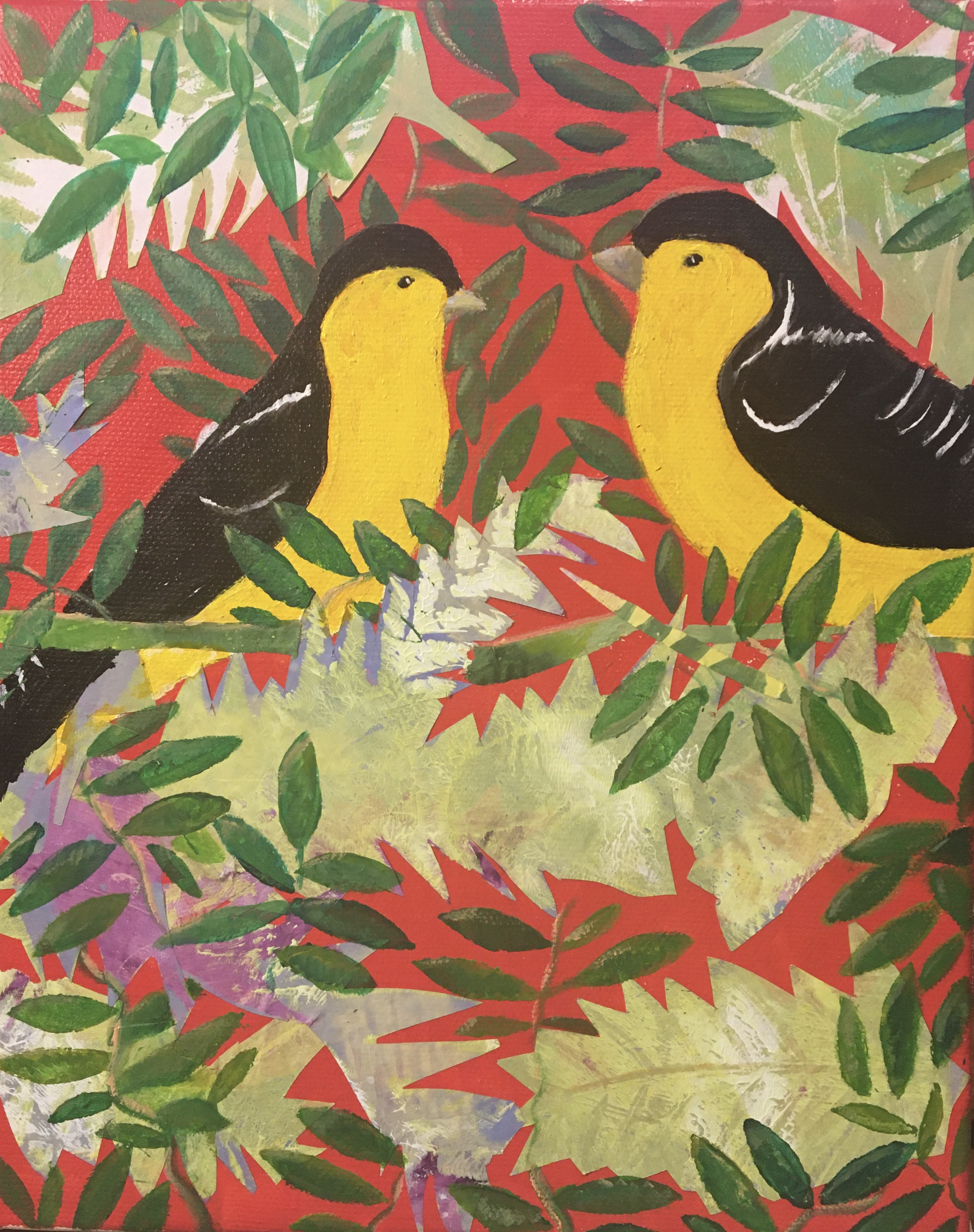 Goldfinches collage for sale